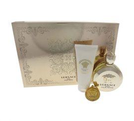 Set nước hoa Nữ Versace Eros của Versace fbao gồm: Chai xịt nước hoa Eau de Parfum 3.4 oz + Dưỡng thể 3.4 oz + Móc khóa Versace
