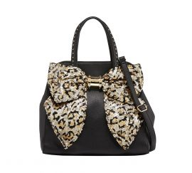 Betsey Johnson Black Leopard Removable Bow Satchel Handbag