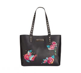 Betsey Johnson Large Embroidered Tote Black