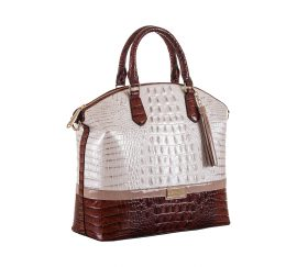 Brahmin Large Duxbury Dome Satchel Toasted Macaroon Durance White Brown