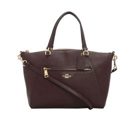 COACH Prairie Satchel in Pebble Leather GoldOxblood