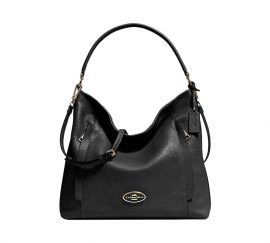 Coach Black Pebble Leather PWE Updated Scout Hobo Shoulder Bag