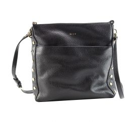 DKNY Women's Chelsea Pebbled Leather Top Zip Cross Body Bag Black