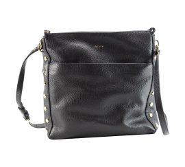 Túi dđeo chéo bằng Da nổi dây kéo trên DKNY Women's Chelsea Đen