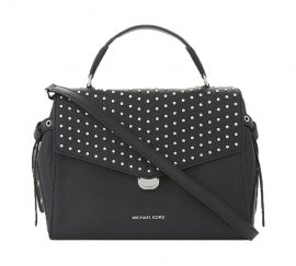 Michael Kors BRISTOL STUD MED TH Satchel Bag In BLACK Pebbled Leather