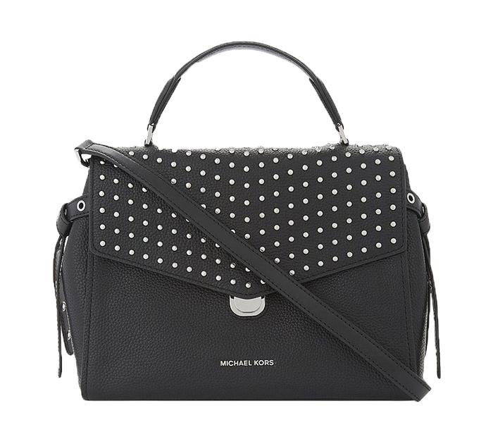 635e00ab746 Michael Kors BRISTOL STUD MED TH Satchel Bag In BLACK Pebbled Leather