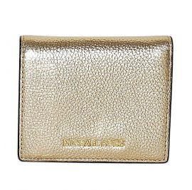 Michael Kors Leather Flap Card Holder Money Pieces Card Case Pale Gold