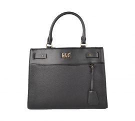Michael Kors Reagan Black Leather Large Satchel