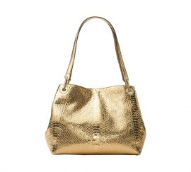Michael Kors raven metallic embossed-leather shoulder bag purse gold