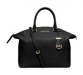 Michael Kors Riley Large Pebble Leather Satchel (Black Gold)