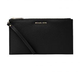 Michael Kors wristlet Large Zip Clutch Leather Black