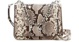 Michael Kors Large Charm Swag Python Embossed Leather Shoulder Bag