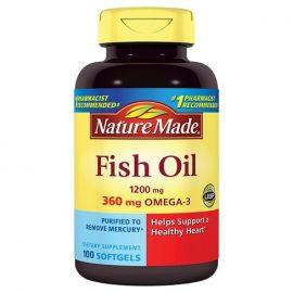 Dầu cá Natural Made 1200 mg w. Omega-3 360 mg, 200 Viên nang mềm