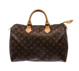 Louis Vuitton Monogram Canvas Leather Speedy 35 cm Bag