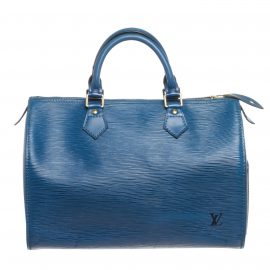 Louis Vuitton Blue Epi Leather Speedy 35 cm Bag