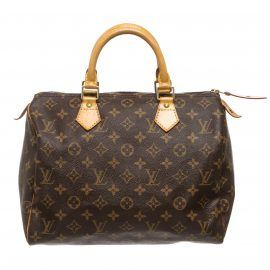 Louis Vuitton Monogram Canvas Leather Speedy 30 cm Bag