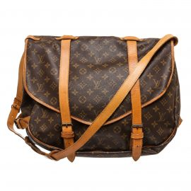 Louis Vuitton Monogram Canvas Leather Saumur 43 cm Messenger Bag