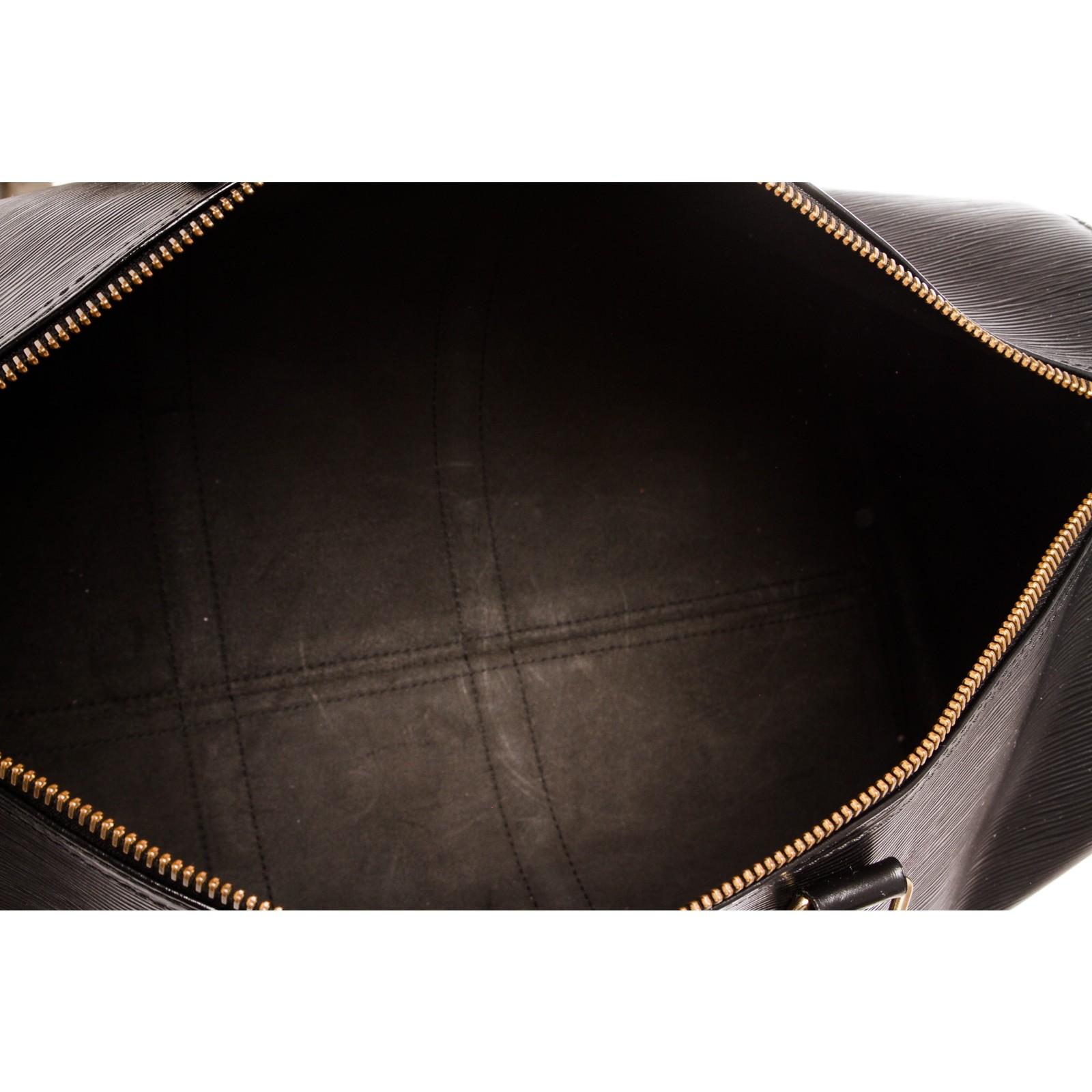31feaa2316e Louis Vuitton Black Epi Leather Keepall 55 cm Duffle Bag Luggage