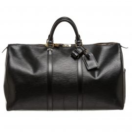 Louis Vuitton Black Epi Leather Keepall 50 cm Duffle Bag Luggage
