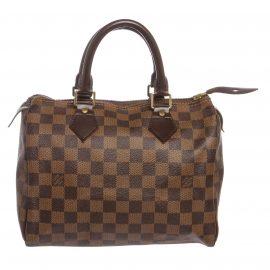 Louis Vuitton Damier Ebene Canvas Leather Speedy 25 cm Bag