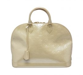Louis Vuitton Ivory Vernis Monogram Alma GM Handbag