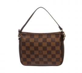 Louis Vuitton Damier Ebene Canvas Leather Trousse Pochette Bag